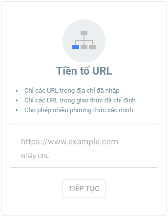 Tiền tố URL trong Search Console