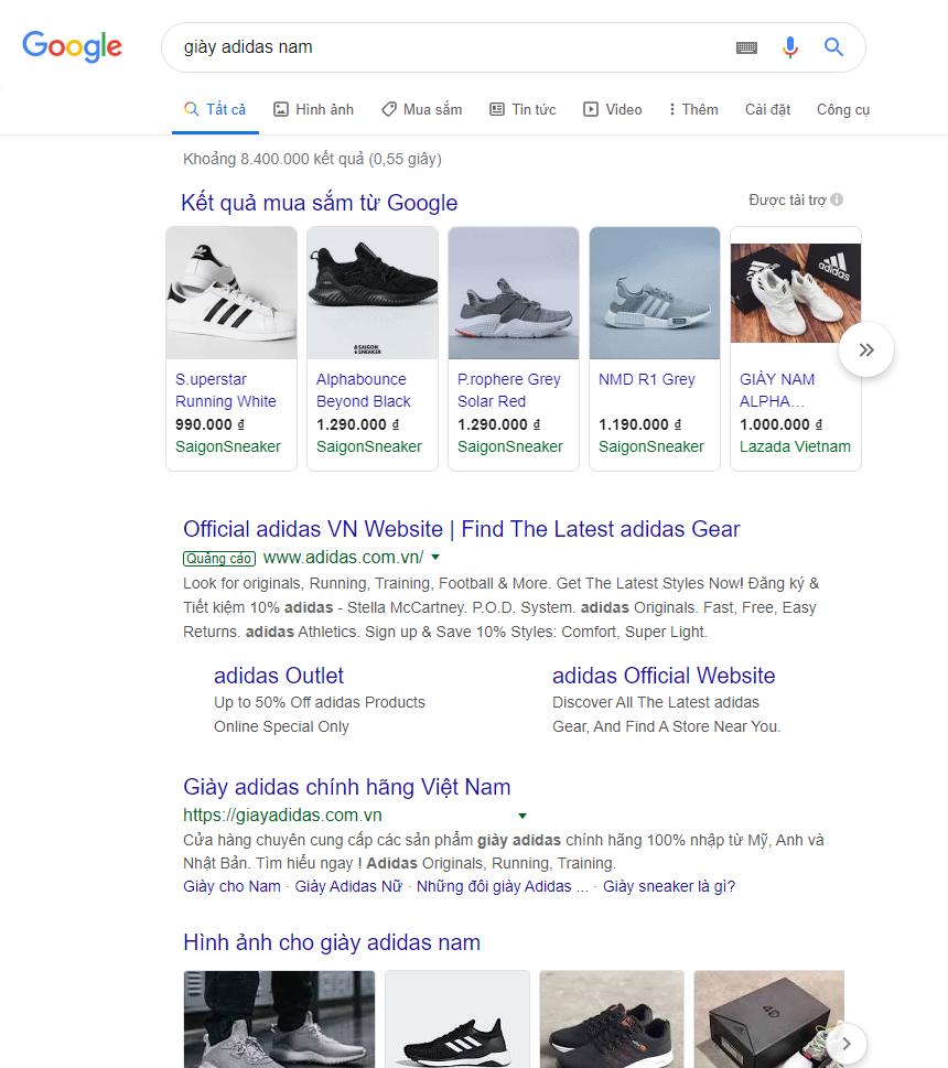 Kết quả quảng cáo Google Shopping ở phía trên