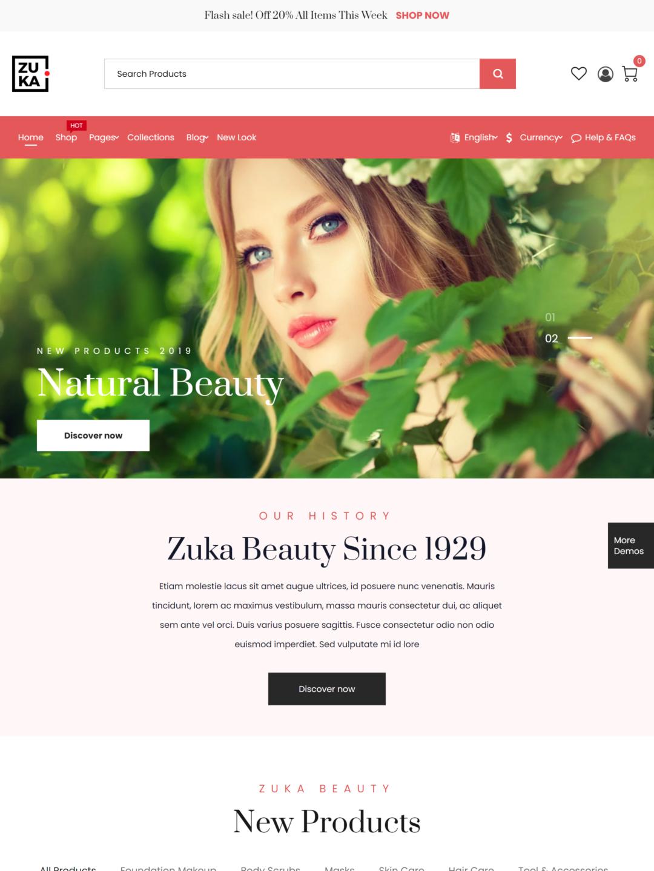 mẫu gao diện Beauty Store